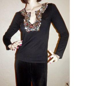 1c1e8e6a5c3dd0 Vermani Tops - Vermani New Black Gold Sequin Knit Top